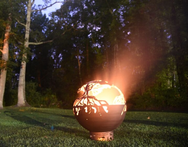 This is a photo of my new firesphere. This one is inspired by the tree of life, which we have made many for customers. I wanted so make some outdoor art pieces with function as well as artistic value.