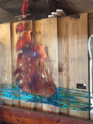 Two new pieces on display at Buddy's Crab House and Oyster bar in Surf City NC.
